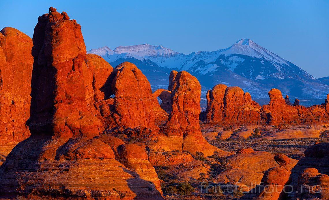 Eventyrlig landskap ved Garden Of Eden i Arches National Park, Utah, USA.<br>Bildenr 20080319-611.