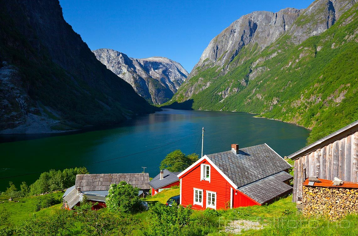 Erkenorsk fjordlandskap ved Nærøyfjorden, Aurland, Sogn og Fjordane.