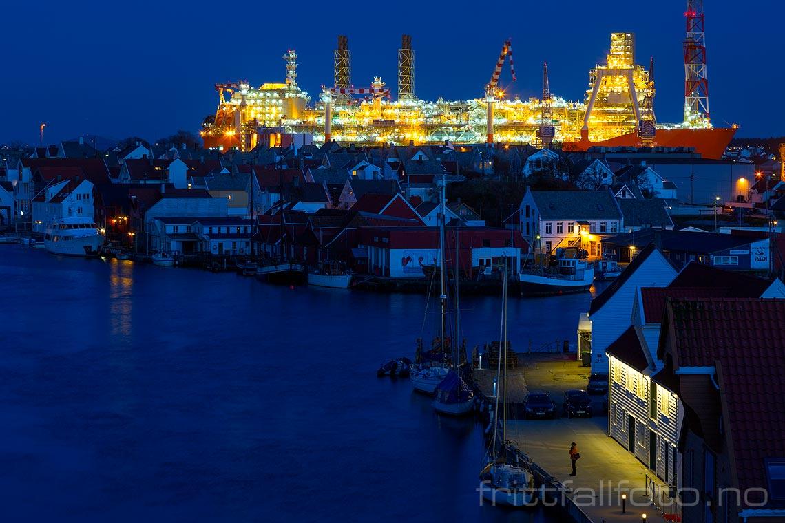 Kveld ved Smedasundet i Haugesund, Rogaland.
