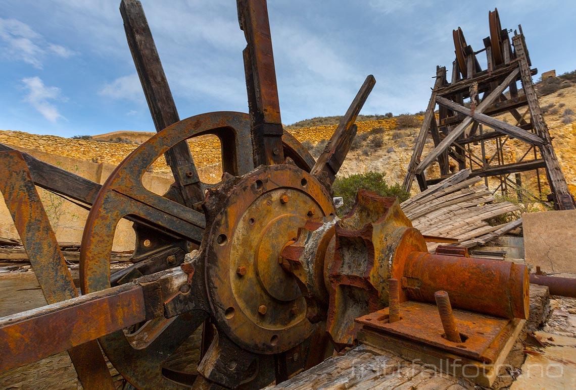 Gamle minner fra gruvedrift i Minas Romanas nær Mazarrón, Región de Murcia, Spania.