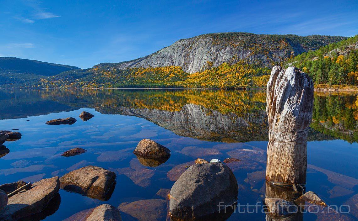 Vikefjell speiler seg i Fyresvatn, Fyresdal kommune, Telemark.