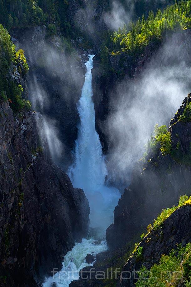 Rjukanfossen nær Vemork i Vestfjorddalen, Tinn kommune, Telemark.