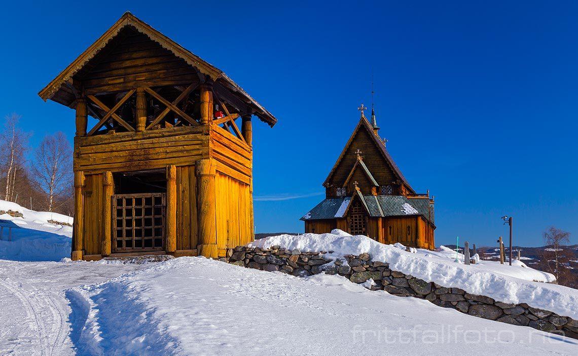Ved Reinli stavkirke nær Reinli i Begnadalen, Sør-Aurdal kommune, Oppland.