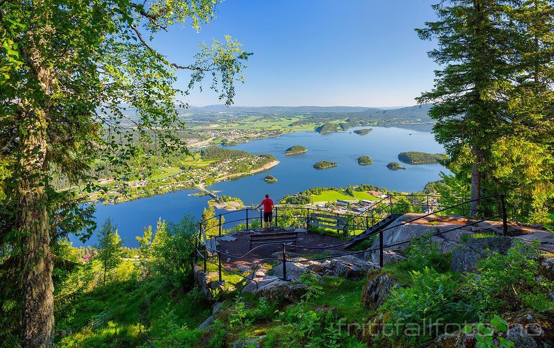 Kongens Utsikt på Krokskogen gir storslagen utsikt mot Steinsfjorden, Hole, Viken.<br>Bildenr 20170617-050.