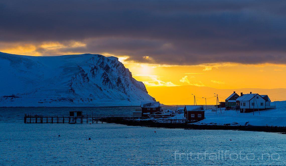 Vinterlys på Magerøya, Nordkapp, Finnmark.
