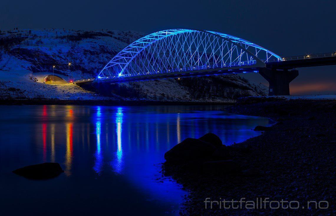 Kveld ved Bøkfjordbrua nær Kirkenes, Sør-Varanger, Finnmark.