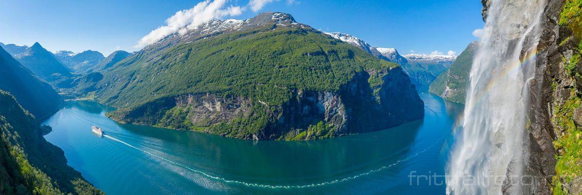 Turister fra hele verden reiser langt for å se Geirangerfjorden, Stranda, Møre og Romsdal.<br>Bildenr 20190615-0341-0344.