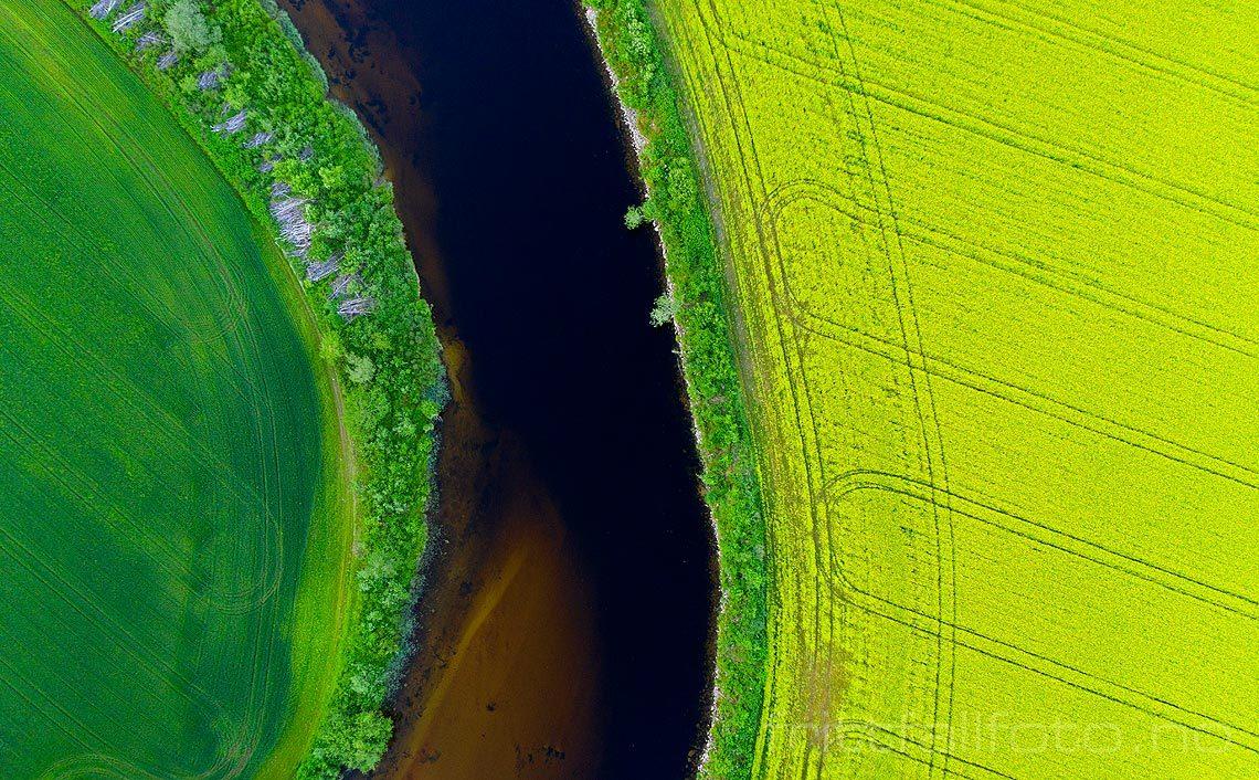Kulturlandskap rammer inn Bøelva, Bø, Vestfold og Telemark.<br>Bildenr 20190626-020.