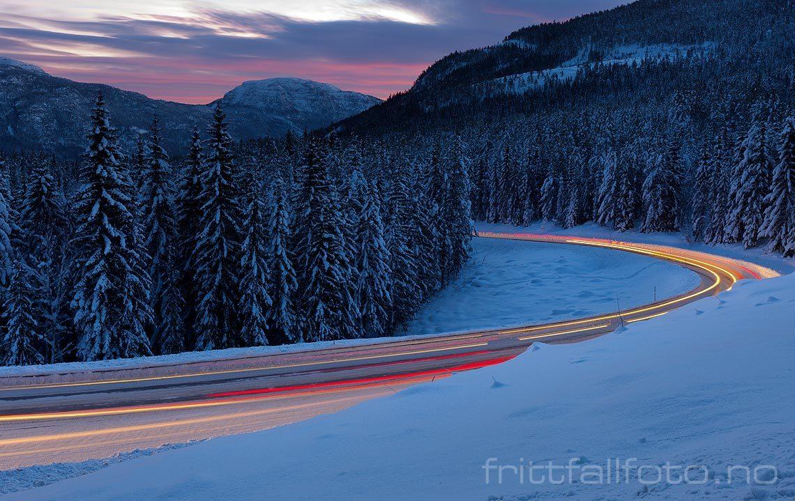 Vintermorgen ved Kviteseidkleivane, Kviteseid, Vestfold og Telemark.<br>Bildenr 20121228-005.