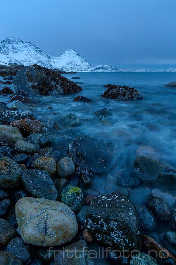 Grå vinterdag ved Øksfjorden, Loppa, Troms og Finnmark.<br>Bildenr 20180210-557.