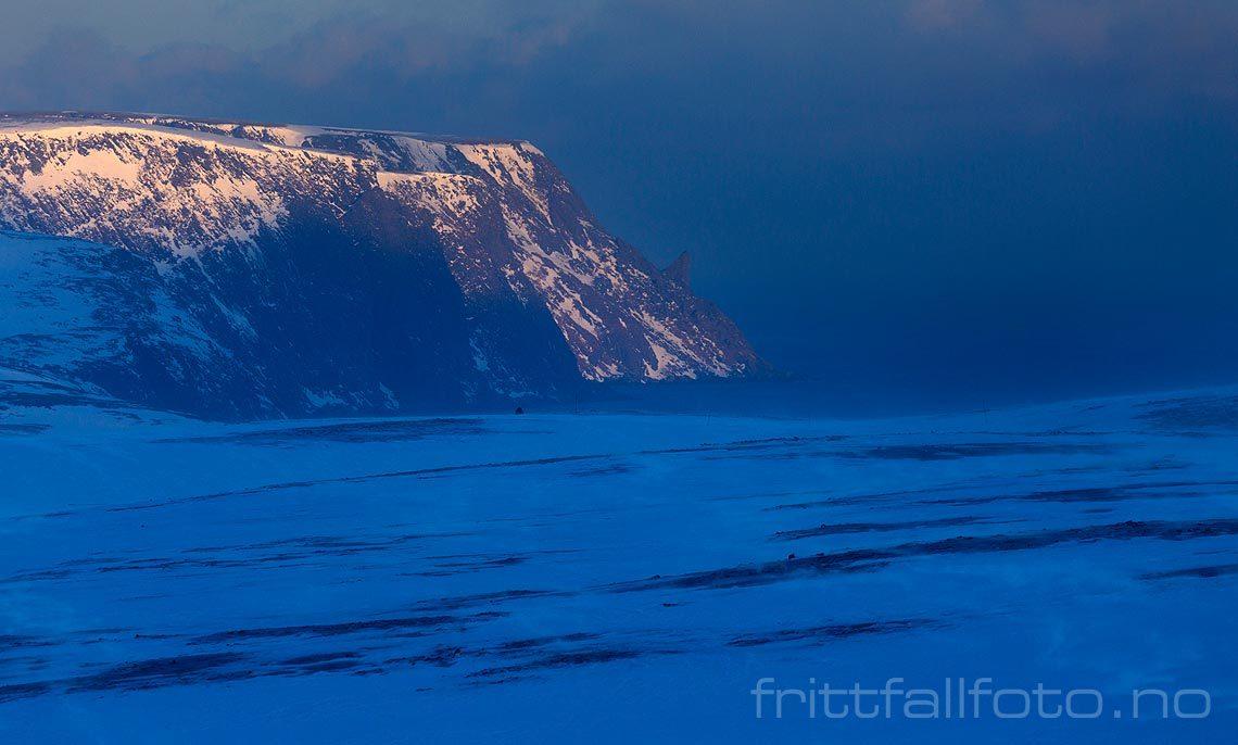 Iskald vind feier over platålandskapet på Magerøya, Nordkapp, Troms og Finnmark.<br>Bildenr 20180212-0449.