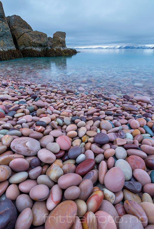 På den unike rullesteinsfjæra ved Tanafjorden, Tana, Troms og Finnmark.<br>Bildenr 20181103-135.