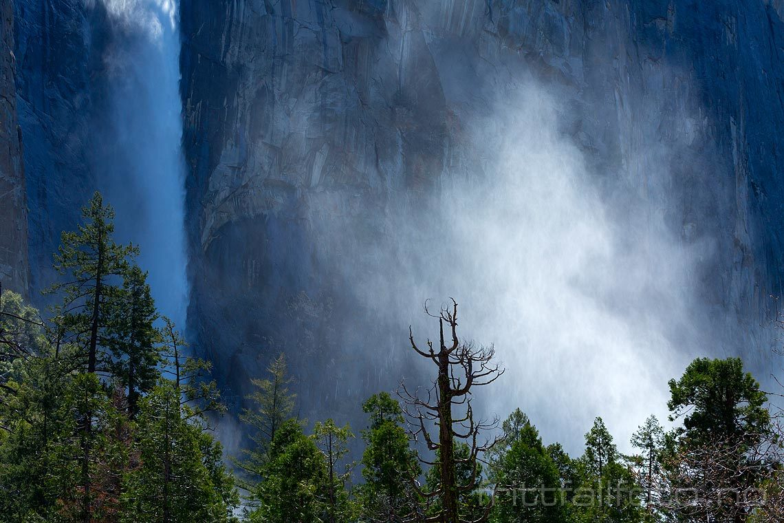 Bridalveil Falls i Yosemite Valley, Sierra Nevada, Mariposa County, California, USA.<br>Bildenr 20170414-727.