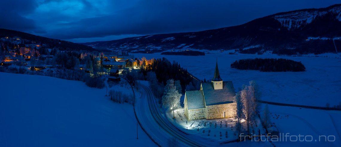 Vintermorgen ved Slidredomen, Vestre Slidre, Innlandet.<br>Bildenr 20200111-048-051.